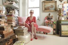 "Silver-Foxy Linda Rodin's NYC Apartment #refinery29  http://www.refinery29.com/linda-rodin-my-style#slide-4  ""My new 'Kiss' chair from the 1960s. I'm wearing my favorite polka-dot dress from Legacy and vintage Chinese slippers."""
