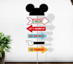 Welcome to Party Pop Printables and more! *** This listing if for PRINTABLE Mickey Mouse Clubhouse personalized arrow sign No physical items Theme Mickey, Mickey Mouse Clubhouse Birthday Party, Mickey Mouse 1st Birthday, Mickey Mouse Parties, Mickey Party, Mickey Minnie Mouse, 1st Birthday Parties, Pirate Party, 3rd Birthday