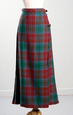 Vintage 70's Wool Plaid Maxi Skirt Buckle Wrap Pleated Kilt Red Green Blue Small