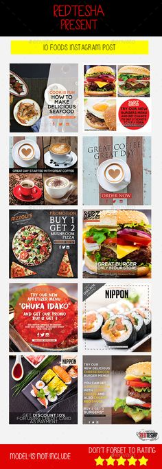 10 foods instagram post photoshop psd food social media promotion available here