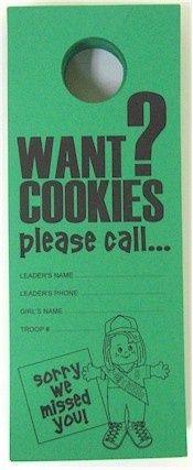 girl scout cookie door hanger - Google Search - Hang on doors in your neighborhood to sell cookies...