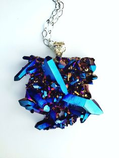 Titanium Cobalt Blue Aura Quartz Necklace by AtelierYumi