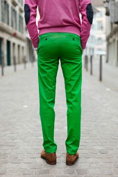 green purple elbow patches and perfect tailoring.
