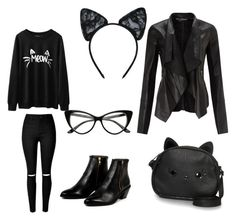 """Cat Look"" by denisaionita12 on Polyvore featuring Maison Close, AZI, Loungefly and Miss Selfridge"