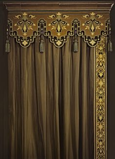 Intricately patterned tassels and cornice painted to match wide embroidered trim band on toffee colored silk (or silk-look) Elegant Curtains, Modern Curtains, Colorful Curtains, Drapes And Blinds, Drapes Curtains, Valance, Window Coverings, Window Treatments, Decoration Buffet