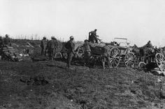 Unloading ammunition at battery position behind Arrow Head Copse, near Guillemont. http://twitter.com/Somme01071916/status/501272290068561920/photo/1