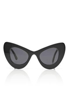 Illesteva For Zac Posen Black Cat Eye Sunglasses