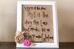 ~ 8X10 inch white painted frame, with burlap background, and burlap and pink flowers, dry erase whiteboard!    ~ It comes with a black dry erase