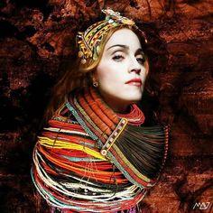 #Madonna #Samburu #tribu 3 #raisingmalawi #digitalart #rebelart by @madonna_art_vision