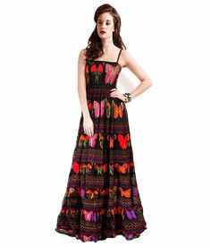 Samor Butterfly And Multicolor Zigzag Paneled Maxi Dress With A Ruched Yoke And Ruffled Layers, http://www.snapdeal.com/product/samor-butterfly-and-multicolor-zigzag/651212344