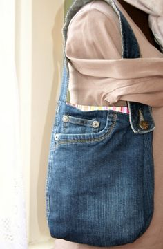 Recycled Denim Jean Handbag by SamanthaSewing on Etsy, £9.00
