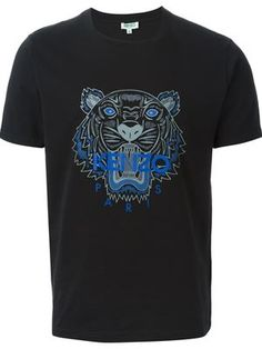 Shop Kenzo 'Tiger' T-shirt T Shirt Vest, Neck T Shirt, Tee Shirts, Tees, T-shirt Tigre, Tiger T Shirt, Designer Clothes For Men, Kenzo, Black Cotton