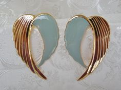 80s Vintage Earrings Large TwoTone Green by KKCollectibleCollage, $3.50 https://www.etsy.com/listing/159201292/80s-vintage-earrings-large-two-tone