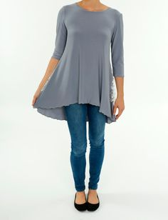 Women's 3/4 Sleeve Shirt - Gray Grey Knit Polyester High Low Peasant Top with Back Lace Flounce Panel - Ladies Hi-Low Shirt Summer Fall