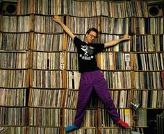 John Zorn in NYC with record collection 1980s