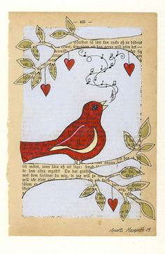 Red bird - Print - Bird on branch - book page art from norwegian artist Annette Mangseth Book Page Art, Old Book Pages, Kunstjournal Inspiration, Art Journal Inspiration, Altered Books, Altered Art, Art Journal Pages, Art Journals, Bird Illustration
