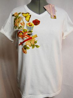 Summer Sale 25 Off Sushi Lovers White Custom T shirt Hand Painted Fabric Applique Design by paulagsell, $30.00