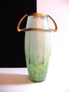 art nouveau Loetz vase with copper mount