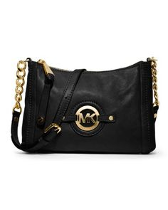 MICHAEL Michael Kors Stockard Medium Messenger (Black) - http://handbagscouture.net/brands/michael-kors/michael-michael-kors-stockard-medium-messenger-black/