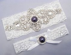 Ivory Off White Bridal Garter Set Aqua Something Blue Wedding Stretch Lace Crystal Rhinestone Pearl Keepsake Toss Garters