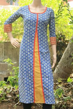 Simple and attractive Kalamkari Designs, Churidar Designs, Kurti Neck Designs, Kurti Designs Party Wear, Blouse Designs, Salwar Neck Patterns, Dress Patterns, Girls Kurti, Punjabi Dress