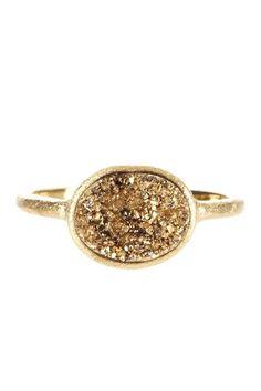 18K Gold Clad East/West Druzy Oval Ring by Rivka Friedman on @HauteLook