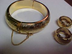 3 piece set gold tone bracelet and matching ear rings by designer2, $20.00