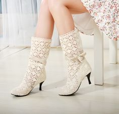 Fashion cotton crochet boots nets boots Autumn boots shoes woman ankle boots heels women shoes sapatos femininos Free Shipping-in Boots from Shoes on Aliexpress.com | Alibaba Group