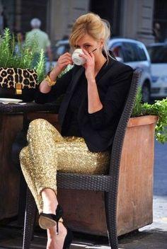 Women's Black Blazer, Black Crew-neck T-shirt, Gold Sequin Skinny Pants, Black Suede Pumps