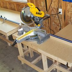 Complete measuring system for your miter saw, radial arm saw or drill press is faster and more accurate than putting a pencil mark on every . Woodworking Table Saw, Rockler Woodworking, Woodworking Furniture, Woodworking Shop, Garage Workbench Plans, Diy Workbench, Miter Saw Bench, Mitre Saw Station, Radial Arm Saw