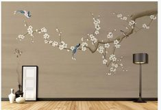Chinoiserie Hanging PlumTree Wallpaper, Flying Bird Home Decor Wall Murals, Vivid Bird and Plum Flowers Wall Murals Wall Decor Beach Mural, Plum Flowers, Spring Tree, Smooth Walls, Bird Wallpaper, Cleaning Walls, Flower Wall Stickers, Chinoiserie, Wall Murals