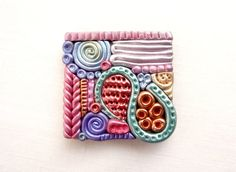 Handmade Abstract Fridge Magnet, Square Wood Polymer Clay Magnet, Modern Design Magnet, Multi Color Fridge Magnet, Wooden Magnet, UK Seller