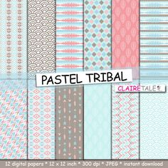 "Buy Tribal digital paper: ""PASTEL TRIBAL"" with tribal patterns and tribal background, arrows, feathers, leaves, chevron in pastel blue and brown by clairetale. Explore more products on http://clairetale.etsy.com"