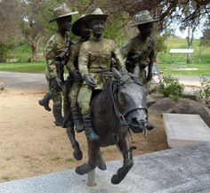 """Retreat at Romani: Light Horse Memorial in Murrumburrah, NSW: dedicated to """"Bill, the Bastard"""", a Waler horse in who could only be ridden by one master but earned his place in fame by carrying 5 men back to safety, galloping of a mile in soft sand. Military Humor, Military History, Anzac Soldiers, Horse Story, Australian Defence Force, Anzac Day, A Moment In Time, World War One, Horse Art"""