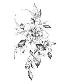 Floral Back Tattoos, Tattoos For Women Flowers, Beautiful Flower Tattoos, Floral Tattoo Design, Black Ink Tattoos, Feminine Tattoos, Flower Tattoo Designs, Lila Tattoo, Tattoo Femeninos