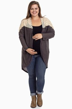 Charcoal Knit Lace Back Plus Size Maternity Cardigan