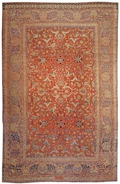 A Persian Tabriz Rug - by Doris Leslie Blau.  An Early 20th Century Persian Tabriz rug woven in Jewel tones. An intricate design of flowers and vines on a crisp field ...