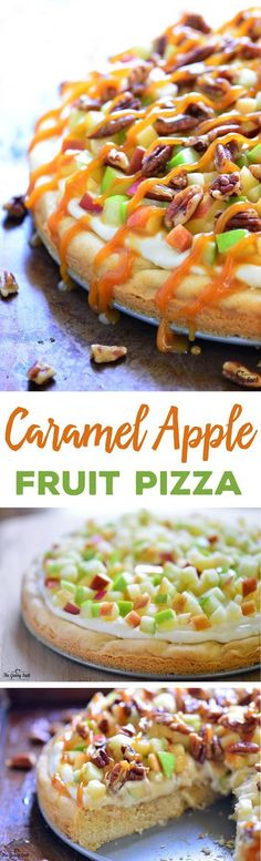 This Caramel Apple Fruit Pizza is a delicious fall dessert with a sugar cookie crust, cream cheese frosting, toasted pecans and a drizzle of caramel.