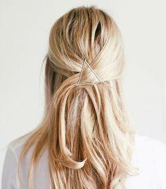 Triangular bobby pin hairstyle