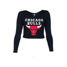NBA 4 HER CHICAGO BULLS NBA FITTED TOP ❤ liked on Polyvore featuring tops, stretch crop top, blue long sleeve top, stretchy tops, boat neck long sleeve top and blue crop top