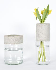 Créez un vase en 1 heure - DIY Projekte Cement Art, Concrete Art, Concrete Design, Vase Design, Concrete Furniture, Concrete Crafts, Wooden Vase, Vase Shapes, Vases Decor