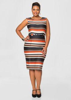 Belted Ponte Stripe Dress Ashley Stewart
