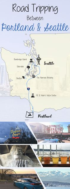 Road Trip between Portland and Seattle. Washington Road trip itinerary.