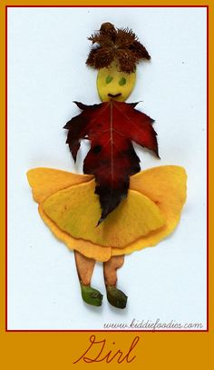 Fall crafts - how to create pictured with leaves - Girl1
