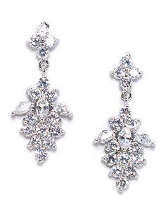 Anna Bellagio FERIDA FLORAL CUBIC ZIRCONIA CLUSTER BRIDAL EARRING Wedding Earrings photo