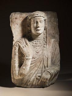 Syria, Palmyra  Funerary Bust from Palmyra, 3rd century  Sculpture; Funerary object; Stone, Limestone