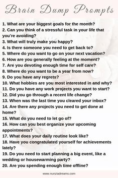 Dealing with racing thoughts is the worst. Thoughts tend to get messy during periods of high stress, but a brain dump worksheet can help! Stress, Journal Questions, 20 Questions, Journal Writing Prompts, Memoir Writing, Therapy Journal, Vie Motivation, Writing Challenge, Self Care Activities