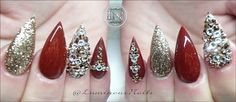 Metallic Rouge & Champagne Gold Sculptured Acrylic Stiletto Nails with Lots of Swarovski Bling! Burgundy Acrylic Nails, Gold Stiletto Nails, Metallic Nails, Neon Nail Designs, Simple Nail Designs, Acrylic Nail Designs, Cute Red Nails, Red And Gold Nails, Luminous Nails