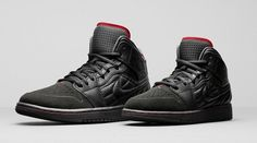 09/9/14: Jordan Brand is Set to Release the Retro Air Jordan 1 'Gym Red'; the Latest Retro, Which Mixes the AJ XIV and the 1, Drops on September 10, 2014. #kicks #sneakers #JordanBrand #SLAMMagazine #AirJordan #AirJordan1 #GymRed