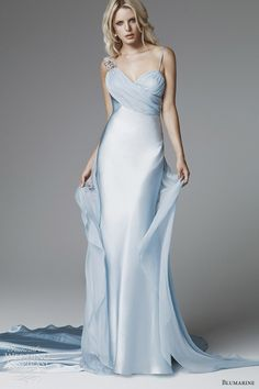 blumarine 2013 bridal pastel blue wedding dress- Sexy Silk sheath gown with train. Pale Blue ombre.